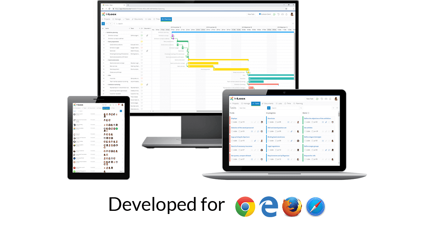 InLoox Web App: Developed for all web browsers | Project Management Software